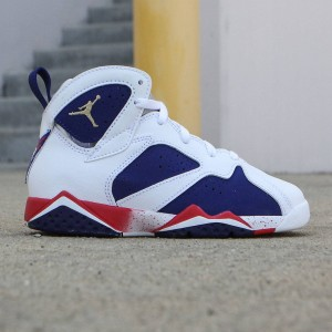 Air Jordan VII Retro (PS) Pre-School 2016 Olympic Little Kids (white / mtlc gold coin-deep royal blue)
