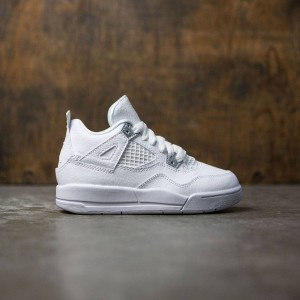 Air Jordan IV Retro (PS) Pre-School Little Kids (white / metallic silver-pure platinum)