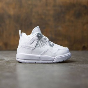 Air Jordan IV Retro (TD) Toddlers (white / metallic silver-pure platinum)
