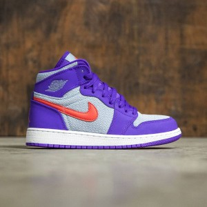 Air Jordan 1 Retro High (GS) Big Kids (blue grey / ember glow-fierce purple-white)