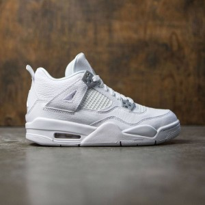 Air Jordan IV Retro (GS) Big Kids (white / metallic silver-off white)