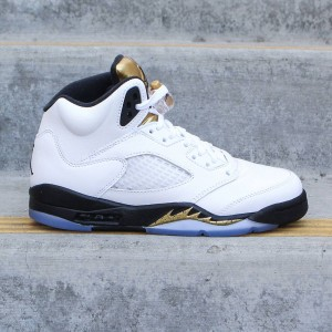 Air Jordan 5 Retro (GS) Big Kids (white / black-mtlc gold coin)