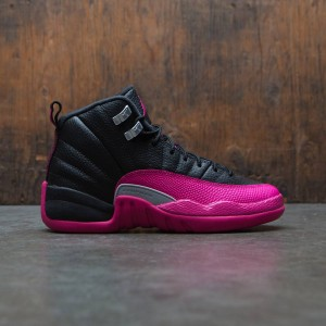 Air Jordan 12 Retro (GS) Big Kids Girls' (black / deadly pink-metallic silver)