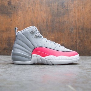 Air Jordan 12 Retro Big Kids (wolf grey / racer pink-black)