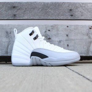 Air Jordan 12 Retro (GS) Big Kids Girls' (white / black-wolf grey)