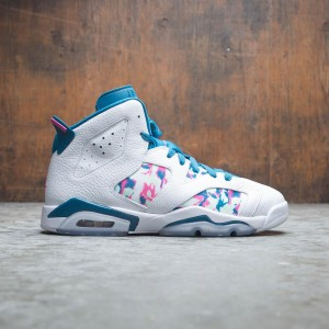 Air Jordan 6 Retro Big Kids (white / laser fuchsia-green abyss)