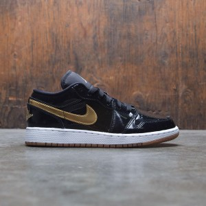 Air Jordan 1 Low (GS) Big Kids Girls' (black / metallic gold-white)