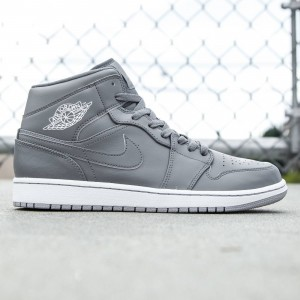 Air Jordan 1 Mid Men (gray / cool grey / white / wolf grey)