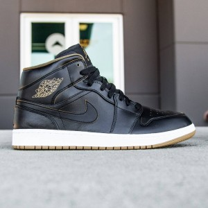 Air Jordan 1 Mid Men (black / white / metallic gold)