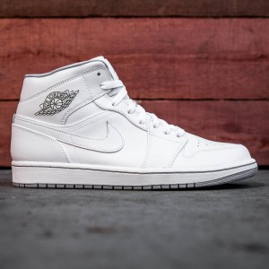 Air Jordan 1 Mid Men (white/ white-wolf grey)
