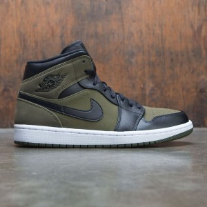 Jordan Men Air Jordan 1 Mid (olive canvas / black-white)