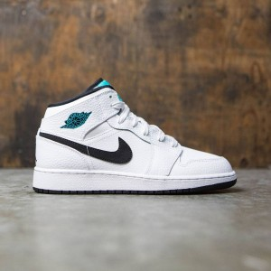 Air Jordan 1 Mid (GS) Big Kids (white / black-white-hyper jade)