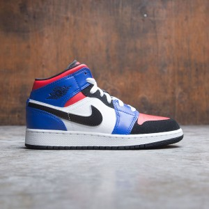 Air Jordan 1 Mid (GS) Big Kids (white / black-hyper royal-university red)