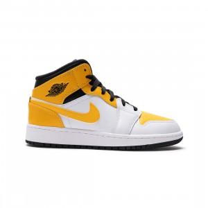 Air Jordan 1 Mid Big Kids (white / university gold-black)