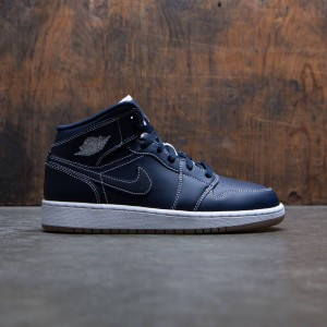 Air Jordan 1 Mid (GS) Big Kids (obsidian / white-gum light brown)