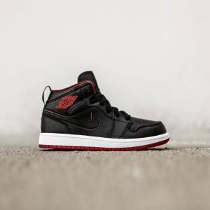 Air Jordan 1 Mid BP Little Kids (black / black-white-gym red)