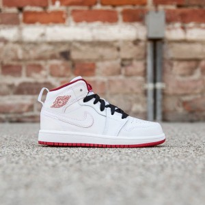 Air Jordan 1 Mid Little Kids (white / black / gym red)