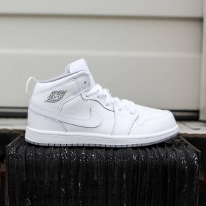 Air Jordan 1 Mid BP Little Kids (white / white-wolf grey)