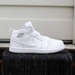 3869ad7418ff Air Jordan 1 Mid BP Little Kids (white   white-wolf grey)