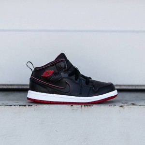 Air Jordan 1 Mid BT Toddlers (black / black-white / gym red)