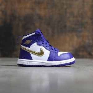 Air Jordan 1 Retro High (TD) Toddlers (deep royal blue / mtlc gold coin-white)