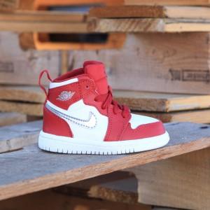 Air Jordan 1 Retro High (TD) Toddlers (gym red / metallic silver-white)