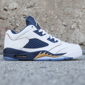 Air Jordan 5 Retro Low Men (white / metallic gold star / midnight navy)