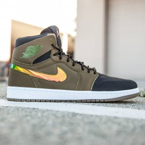Air Jordan 1 Retro High NOUV Men (olive / military green / hyper orange / black / white)