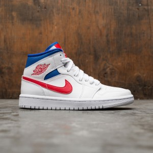 Air Jordan 1 Mid Women (white / university red-game royal)