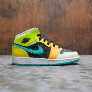 Air Jordan 1 Mid SE Big Kids (black / aurora green-opti yellow)