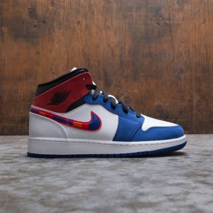 Air Jordan 1 Mid SE Big Kids (white / university red-rush blue-black)