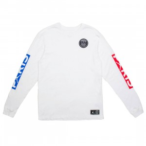 Jordan Men x Paris Saint-Germain Long Sleeves Tee (white / university red / hyper cobalt)