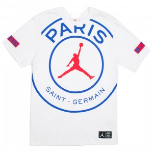 Jordan Men X Paris Saint-Germain Logo Tee (white / game royal / university red)