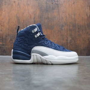 AIR JORDAN 12 RETRO PRM (GS) Big Kids (college navy / university red-sail)