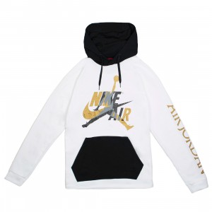 Jordan Men Jumpman Classics Pull Over Hoody (white / black / metallic gold)