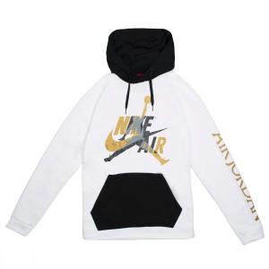 Jordan Men Jumpman Classics Pull Over Hoody (white / black / metallic gold)