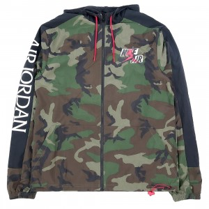 Jordan Men Jumpman Classics Camo Windbreaker (medium olive / black / university red)