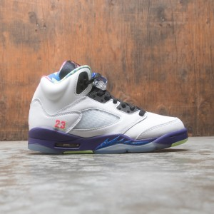 AIR JORDAN 5 RETRO Big Kids (GS) (white / ghost green-court purple)