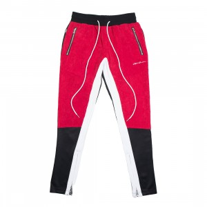Lifted Anchors Men Link Corduroy Track Pants (red / black)