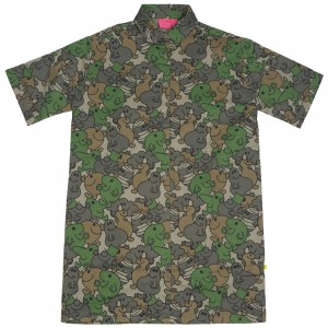 Lazy Oaf x Mr Men Women Camo Tee Dress (green / brown)