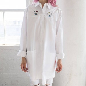 Lazy Oaf X Hello Kitty Women Bow Tie Long Sleeve Shirt (White)