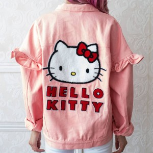 Lazy Oaf X Hello Kitty Women Denim Jacket (Pink)