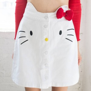 Lazy Oaf X Hello Kitty Women Denim Skirt (White)
