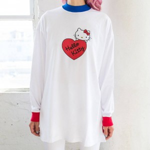 Lazy Oaf X Hello Kitty Women Long Sleeve Split Tee (White)