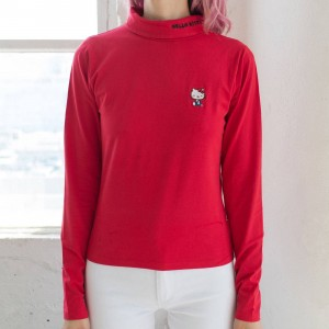 Lazy Oaf X Hello Kitty Women Skivvy Turtleneck Shirt (Red)