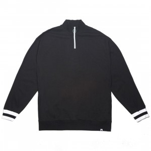 Lazy Oaf Men Lo Quarter Zip Jersey Sweater (black)