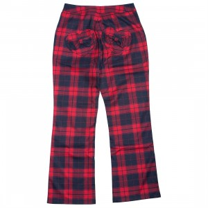 Lazy Oaf Women Tartan Kick Flare Pants (red)