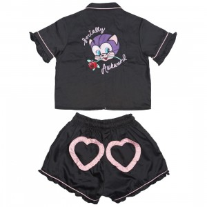 Lazy Oaf Women Socially Awkward Pajamas Set (black)