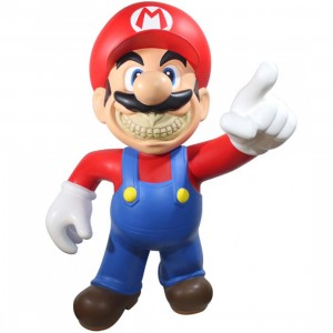MINDstyle x Ron English Mario Grin 4 Foot Statue (red / blue)