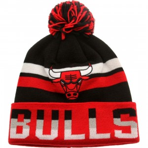 Mitchell And Ness Chicago Bulls Thicked Ribbed Knit Beanie (black / red)